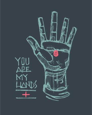 Hand getrokken vector illustratie of het trekken van een Hand van Jezus Christus en de uitdrukking: U bent mijn handen Stockfoto - 43542519