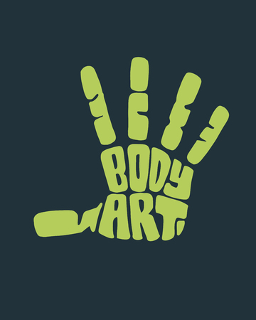 Hand drawn illustration or drawing of a human hand silhouette with the phrase: Body art