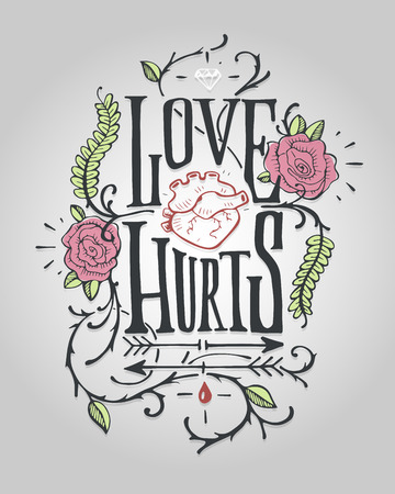 love hurts: Hand drawn illustration or drawing of a lettering badge with a human heart