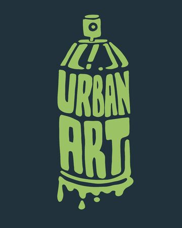 paint can: Hand drawn illustration or drawing of a spray can silhouette with the phrase