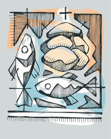religion catolica: Dibujado a mano ilustración vectorial o dibujo de 2 peces y panes, que representan 5 Católica Sacramento de la Eucaristía