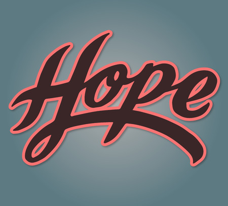 Hand drawn vector illustration or drawing of the handwritten word: Hope Imagens