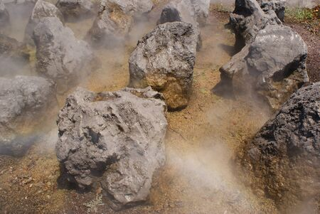 steaming: Photograph of some steaming rocks or stones