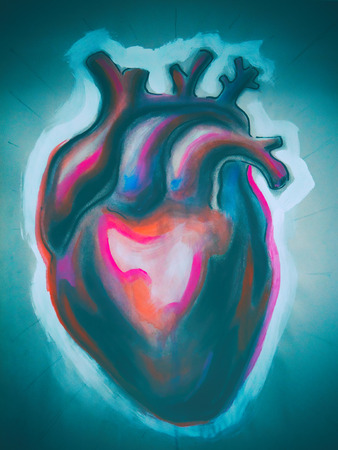 Photograph of a hand drawn colorful human heart