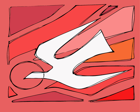 Hand drawn vector illustration or drawing of a dove bird representing the Holy Spirit and fire flames on a red background