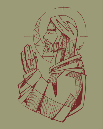 jesus praying: Hand drawn vector illustration or drawing of Jesus Christ praying