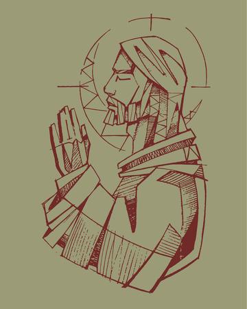 Hand drawn vector illustration or drawing of Jesus Christ praying