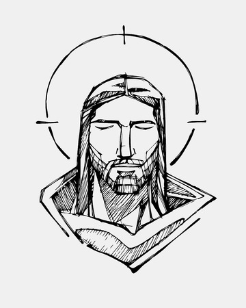 Hand drawn vector illustration or drawing of Jesus Christ Serene Face Illustration