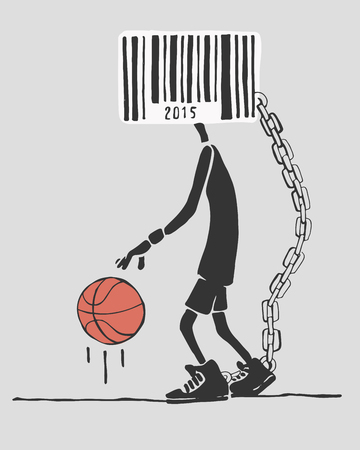 Hand drawn vector illustration or drawing of a basketball player with a barcode instead of head