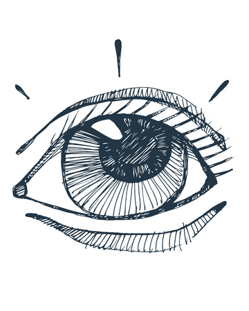 Hand drawn vector illustration or drawing of a human eye