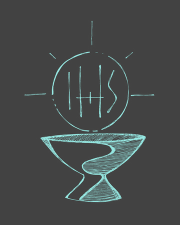 Hand drawn vector illustration or drawing of a cup and a Host with the letters IHS, representing catholic Eucharist Sacrament Vettoriali