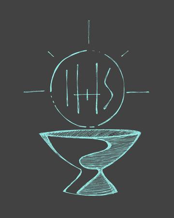 eucharistie: Tiré par la main illustration vectorielle ou un dessin d'une tasse et d'un hôte avec les lettres IHS, représentant catholique Eucharistie Sacrement