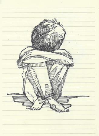 Hand drawn illistration of a barefoot boy sitting lonely