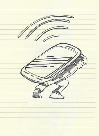cellphone in hand: Hand drawn illistration of a man carrying a big cellphone device