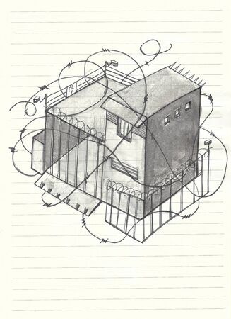 measures: Hand drawn illustration of a house with a lot of barb wire, cameras and other safety measures