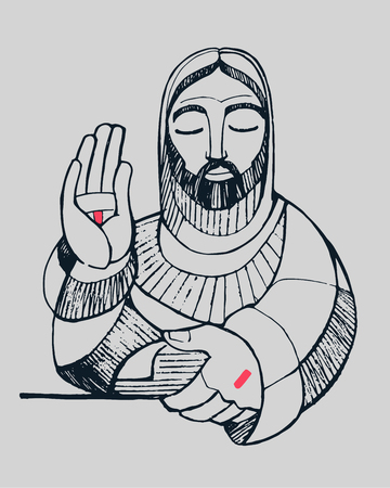 Hand drawn vector illustration or drawing of Jesus Christ blessing