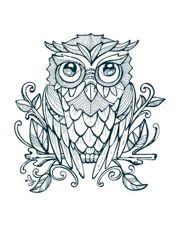Hand getrokken vector illustratie of tekening van een owlon een boomtak