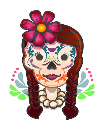 catrina: Hand drawn vector illustration or drawing of a mexican traditional catrina skull cartoon skull with flowers and brades