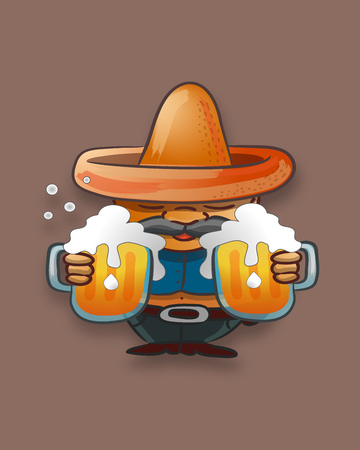 Hand drawn vector illustration or drawing of a fat cartoon man with a hat and jars of beer Ilustracja