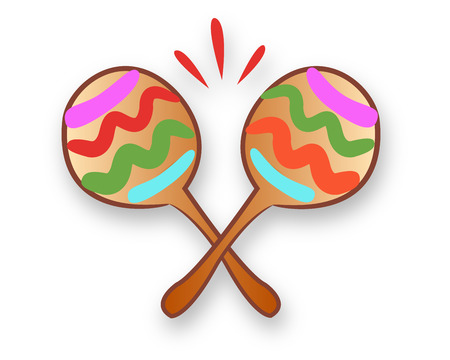 Hand drawn vector illustration or drawing of a pair of mexican maracas