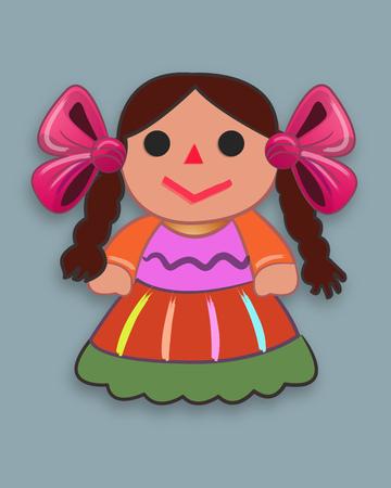 手描きのベクトル図またはメキシコの伝統的な漫画の人形の図面  イラスト・ベクター素材