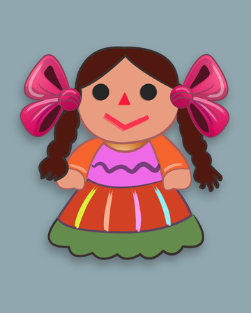 Hand drawn vector illustration or drawing of a mexican traditional cartoon doll