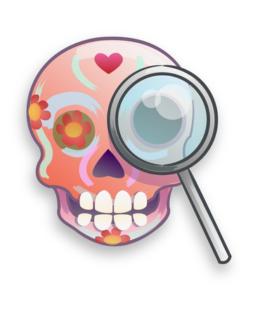 Hand drawn vector illustration or drawing of a mexican traditional cartoon skull with flowers and a lens