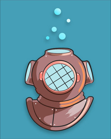 drawn metal: Hand drawn vector illustration or drawing of a metal diver old helmet Illustration