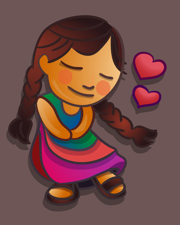 indigenous: Hand drawn vector illustration or drawing of an indigenous cartoon girl with a love expression Illustration