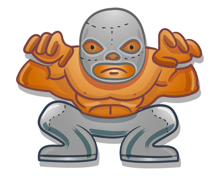 Hand drawn vector illustration or drawing of a Mexican traditional cartoon wrestler Ilustracja