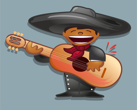 mariachi: Hand drawn vector illustration or drawing of a mexican traditional cartoon mariachi