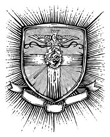 Hand gezeichnet Vektor-Illustration oder eine Zeichnung von ein Abzeichen mit einem religiösen Kreuz, Herz, Taube und ein Band für Text Standard-Bild - 47651222