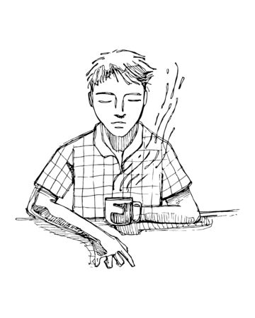 contemplate: Hand drawn vector illustration or drawing of a reflecting man drinking coffee