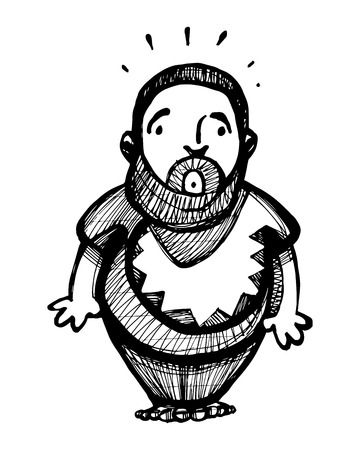 Hand drawn vector illustration or drawing of a fat shy man