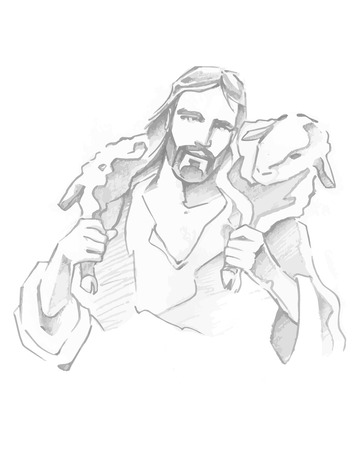 Hand drawn vector illustration or drawing of Jesus Good Shepherd Vectores