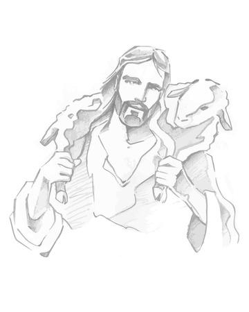 Hand getrokken vector illustratie of het trekken van Jezus Goede Herder