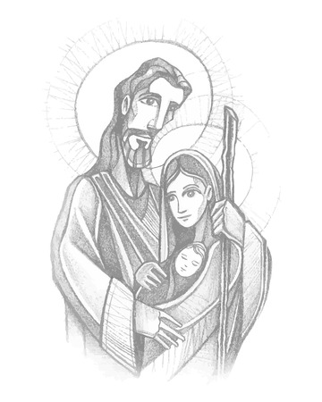 Hand drawn vector illustration or drawing of Jesus Joseph and mary, the Sacred Family Ilustração