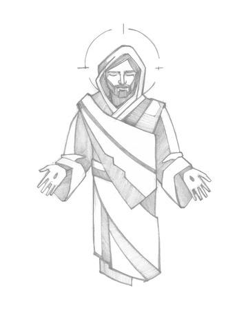 Hand drawn vector illustration or drawing of Resurrected Jesus Christ Stock Illustratie