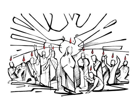 virgen maria: Dibujado a mano ilustración vectorial o dibujo de la escena bíblica de Pentecostés Vectores