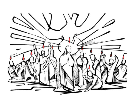 Hand drawn vector illustration or drawing of the biblical scene of Pentecost Ilustração