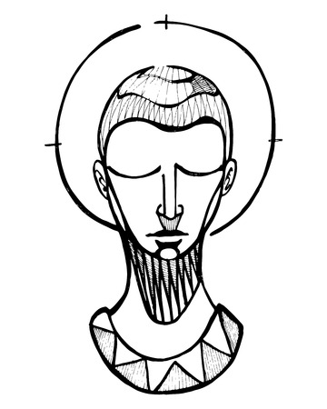 Hand drawn vector illustration or drawing of a praying man