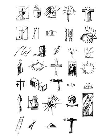 simbolos religiosos: dibujado a mano ilustración de dibujo vectorial o de diferentes símbolos de la pasión JesusChrist Vectores