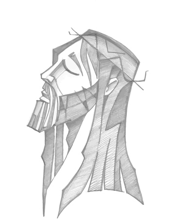 Hand drawn vector illustration or drawing of  JesusChrist face at his Passion Vettoriali