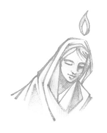 手描きのベクトル図や聖母マリアの祈りの図面