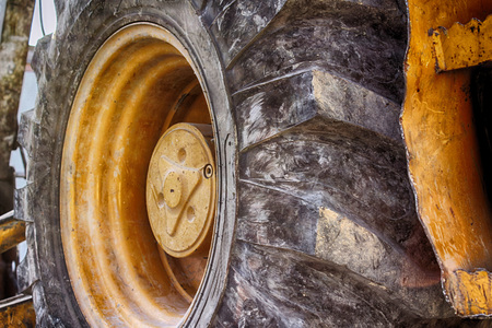wheel tractor: Photograph of an end loader construction machine tire