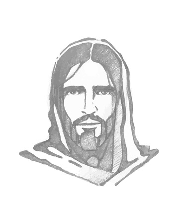 Hand drawn vector illustration or drawing ofHand drawn vector illustration or drawing of Jesus Christ Face  イラスト・ベクター素材