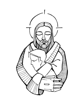 Hand drawn vector illustration or drawing of Jesus Christ Hugging a man