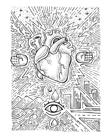 Hand drawn vector illustration or drawing of a human heart, a pair of hands and different urban symbols Çizim