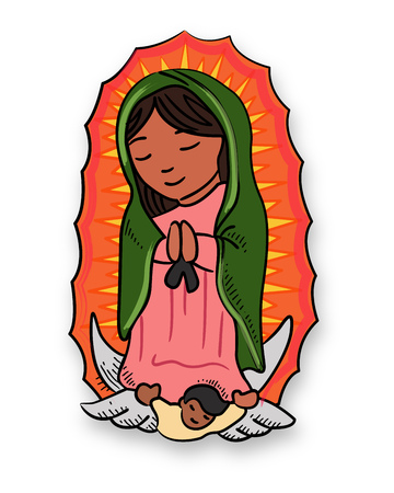 Vector illustration or drawing of Virgin Mary of Guadalupe Çizim