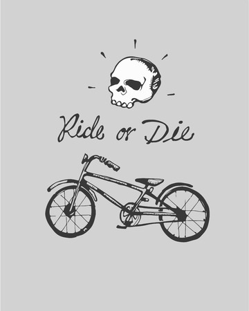 hand bones: Hand drawn vector illustration or drawing of a bicycle wheel, a pair of bones with the phrase Ride or die
